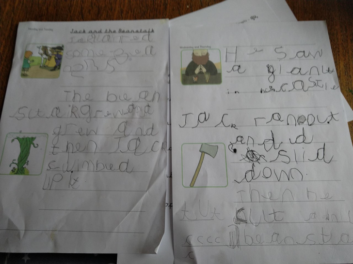 Wilbur completed his Jack and the Beanstalk writing.