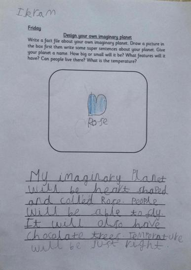 This is a description of Ikram's imaginary planet. It sounds delightful!