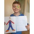 Joshua did a wonderful drawing of himself in his pyjamas!