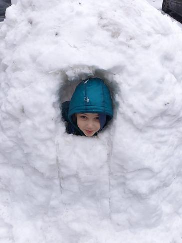 Ariyan inside his incredible igloo