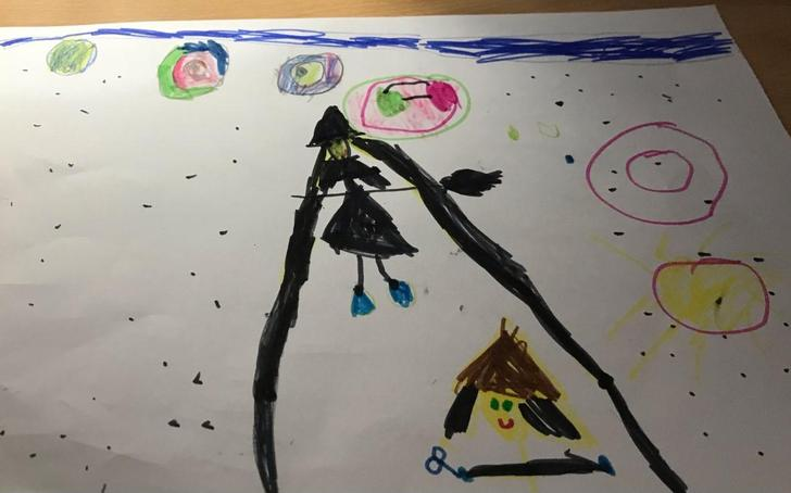 Marissa's beautiful art work- Witches in space!