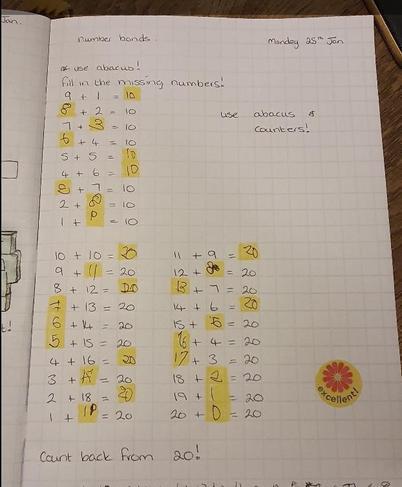 Bella's maths- super work!!