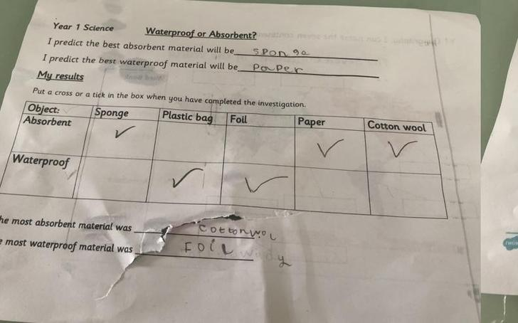 Zahraa's super science testing absorbency- the activity sheet was part of the experiment!