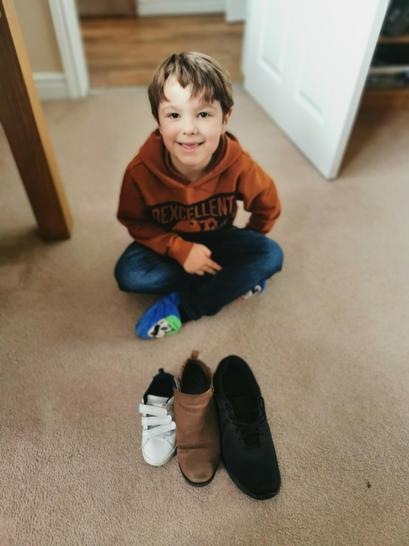 Thomas has been measuring shoes.