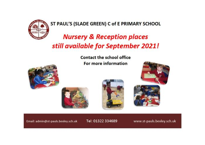 Nursery and Reception places still available!