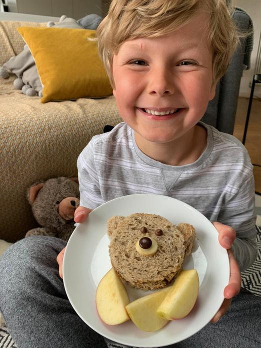 Albie is even eating teddy bear sandwiches!