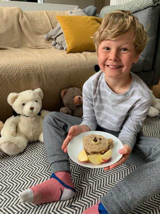 Albie and his teddies enjoying the picnic.