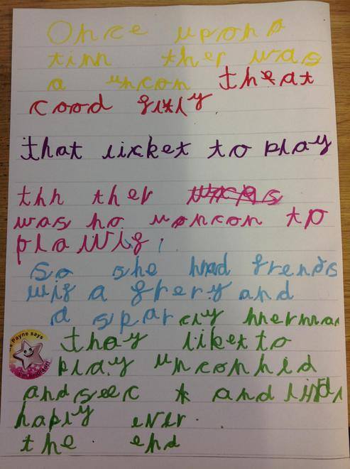 Today, Violet chose to write her own story! WOW!