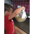 Making banana bread.