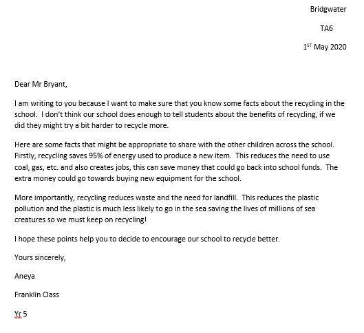 Aneya's letter to Mr Bryant about recycling