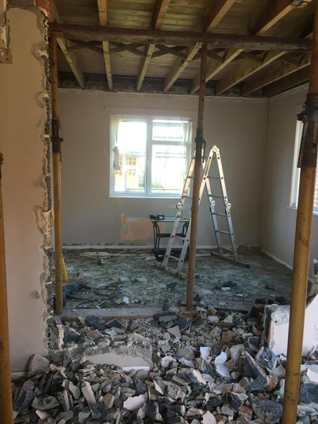 Most of the kitchen wall has gone!