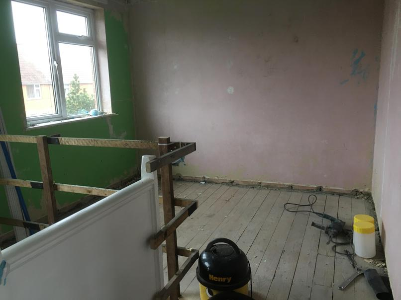 We took out a wall from this bedroom to make a nice office over the stairs