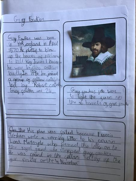 Liam's writing about Guy Fawkes