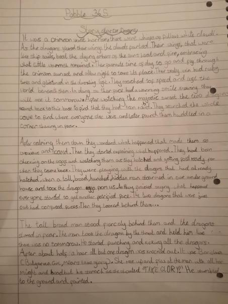 Gabby's brilliant story writing from pobble365.