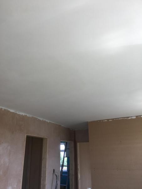 The finished ceiling in the office