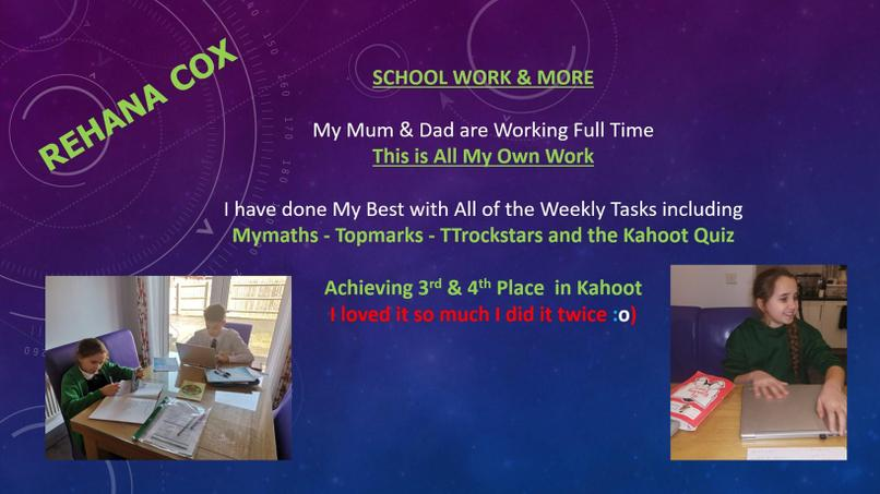 Just some of Rehana's home learning.