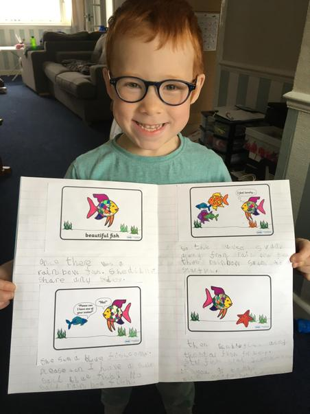Benjamin's rainbow Fish writing 1PE.JPG