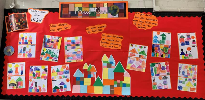 We were inspired by Paul Klee and had a go at creating his famous painting Castle and Sun