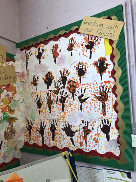 Autumn tree hands and lovely leaf rubbings