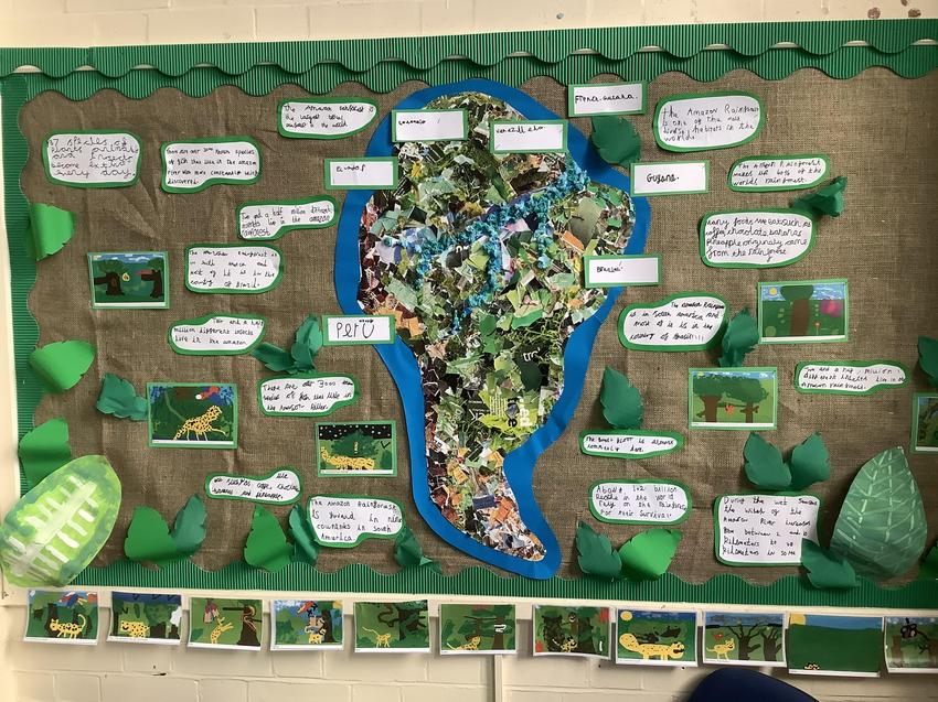 Collage of South America and facts about the rainforest