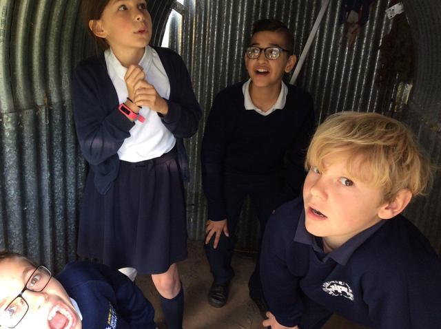 WW2 Terrified in the air raid shelter
