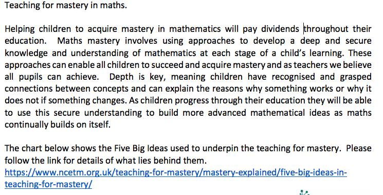 maths mastery blurb