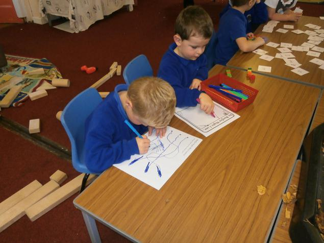 Writing and colouring