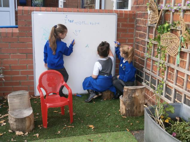 Writing letters outside