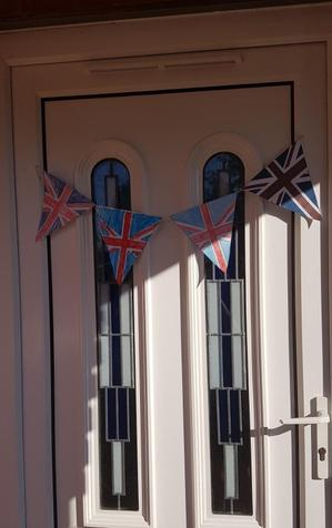 Mrs Oates and her girls' VE Day bunting