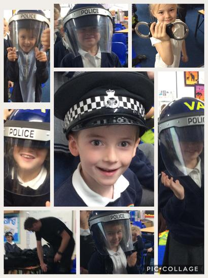 Trying on police equipment!