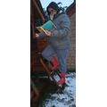 Mrs Coates climbing and reading in the snow!