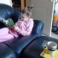 Jemma relaxing and reading a book :)