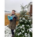Mrs Ayling read in the snow!