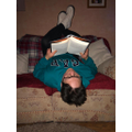 Mrs Duffin reading upside down!