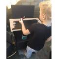 DIY work creating a chalk board