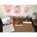Houses and masks for the pigs