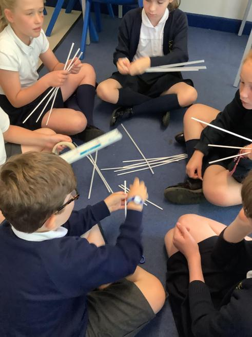 Oliver, Willow and Marlena working on their bridge