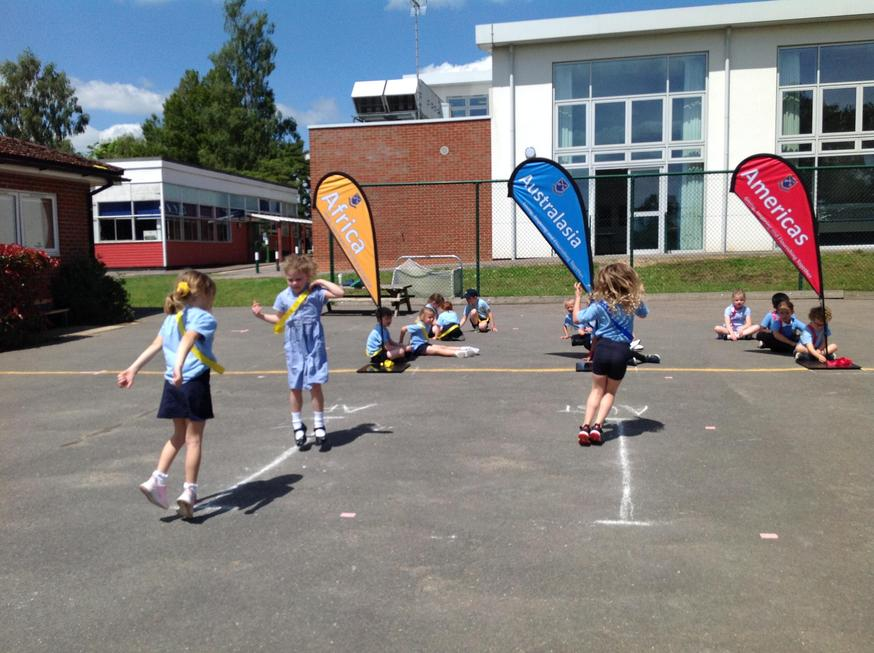 Pupils also helped count the performers as they did their jumps.