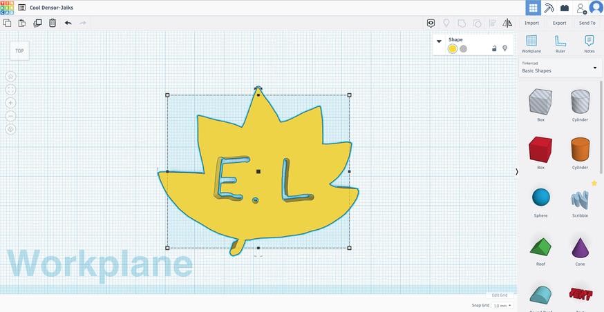 Leaf design created in Tinkercad