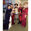 Reception staff as Henry the Eighth and four wives