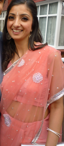 Mrs Malhotra expressing herself in her traditional Indian clothing