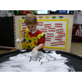 Writing in shaving foam