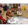 Making patterns in shaving foam