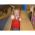 Imaginative play in cardboard boxes