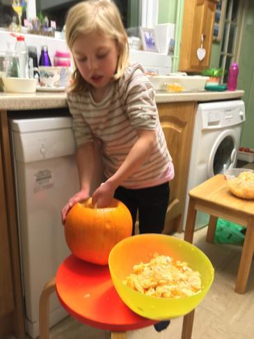 Getting the pumpkin ready