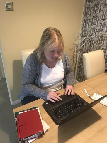 Sarah's working and staying in touch with families