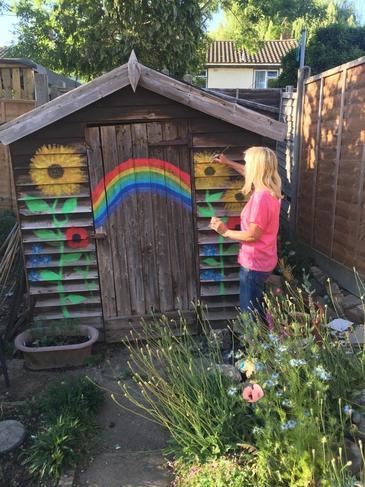 Wendy has been doing some art work in her garden