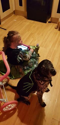 Lily May and her dog for Halloween