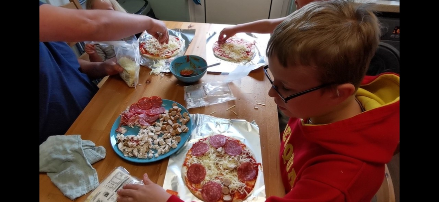 Charlie made a pizza