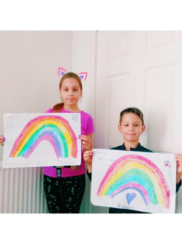 Kevin and his sister painted these rainbows